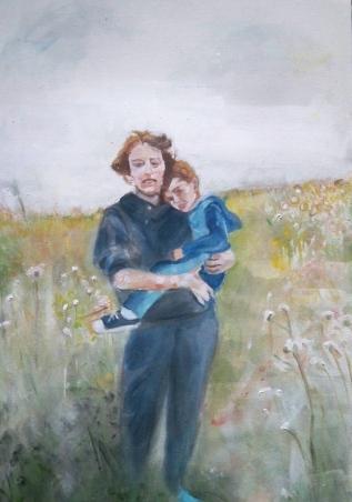 Brigitte with Jonathan Acrylic on Canvas 30x48 2010