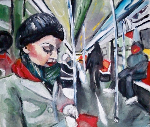 Girl on Subway Acrylic on Canvas