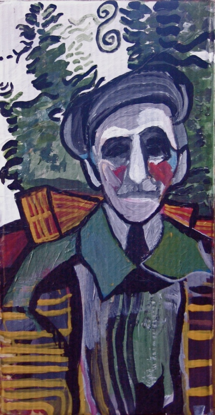 Old Man Acrylic on Cardboard